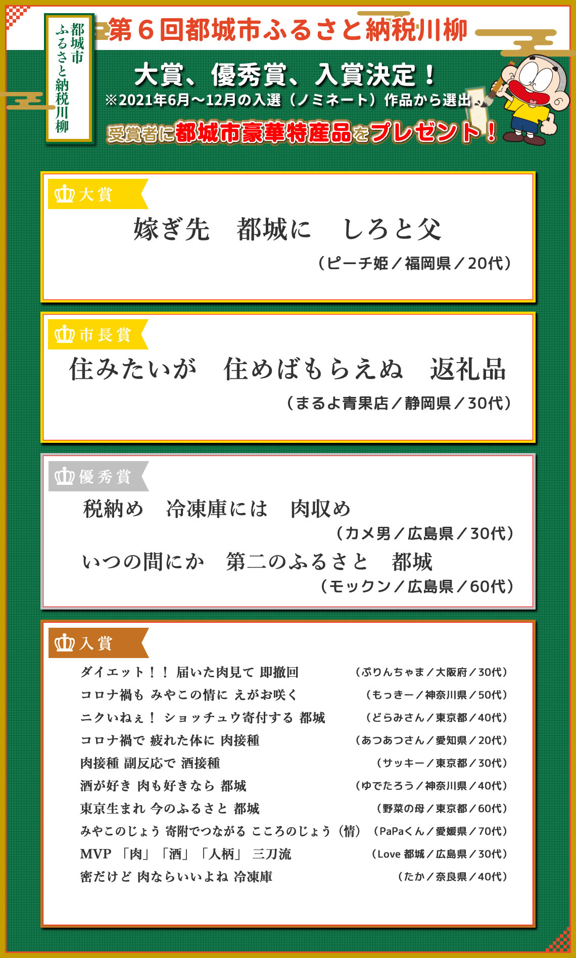 大賞、市長賞、優秀賞、入賞決定!(2019年6月~12月の入選作品から選出)
